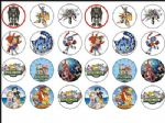 24 x Digimon Wafer Rice Paper Bun Cake Top Toppers